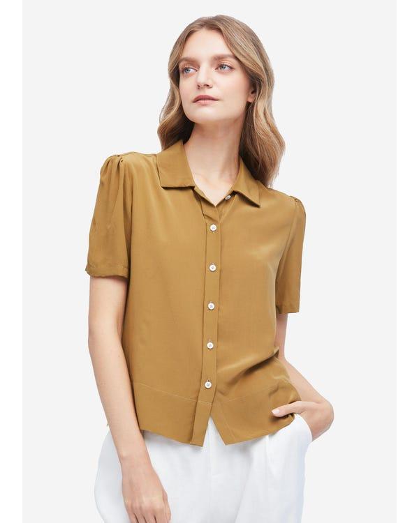 Casual Puff-Sleeve Loose Silk Shirt Sandstone XXL