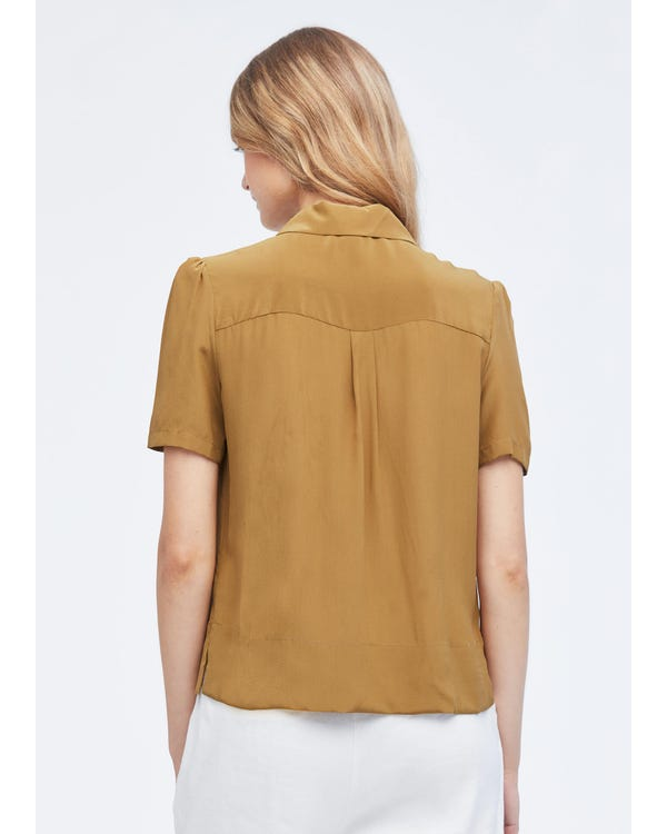 Casual Puff-Sleeve Loose Silk Shirt Sandstone XXL-hover