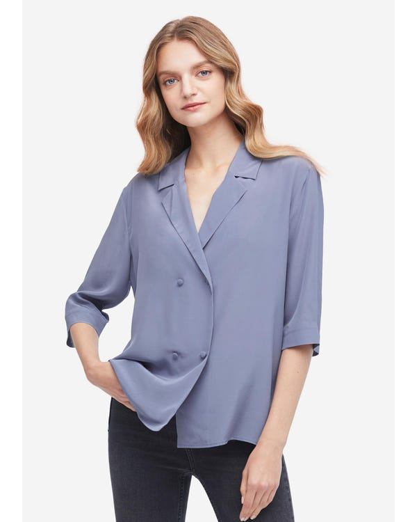 Loose Fit Double Breasted Silk Shirt