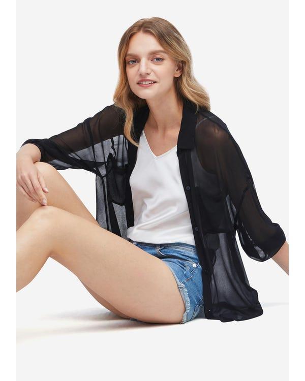 Sun Protection Performance Sheer Silk Outerwear Black XXL