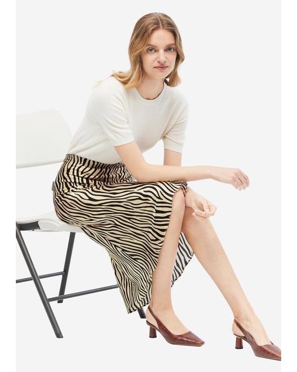 Printed Slim Fit Silk Midi Skirt Zebra-Print L