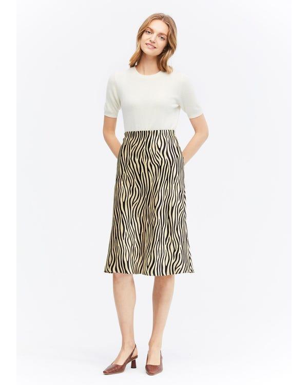 Printed Slim Fit Silk Midi Skirt Zebra-Print L-hover