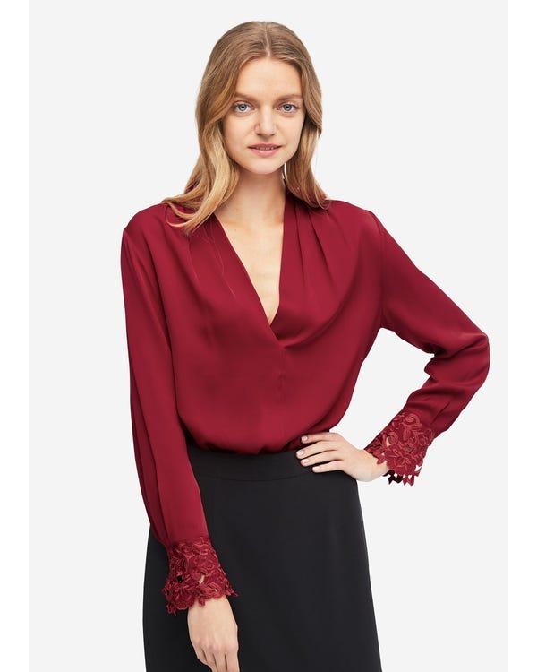 Elegant V Neck Silk Lace blouse