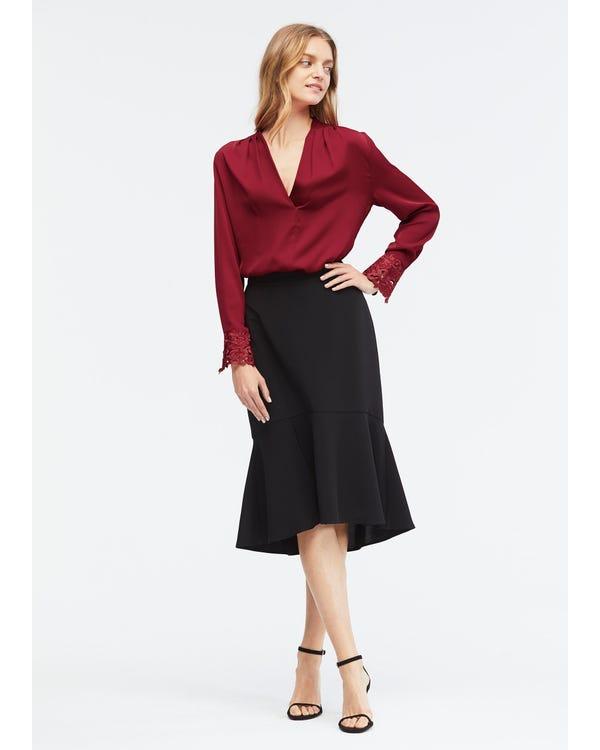 Elegant V Neck Silk Lace blouse-hover