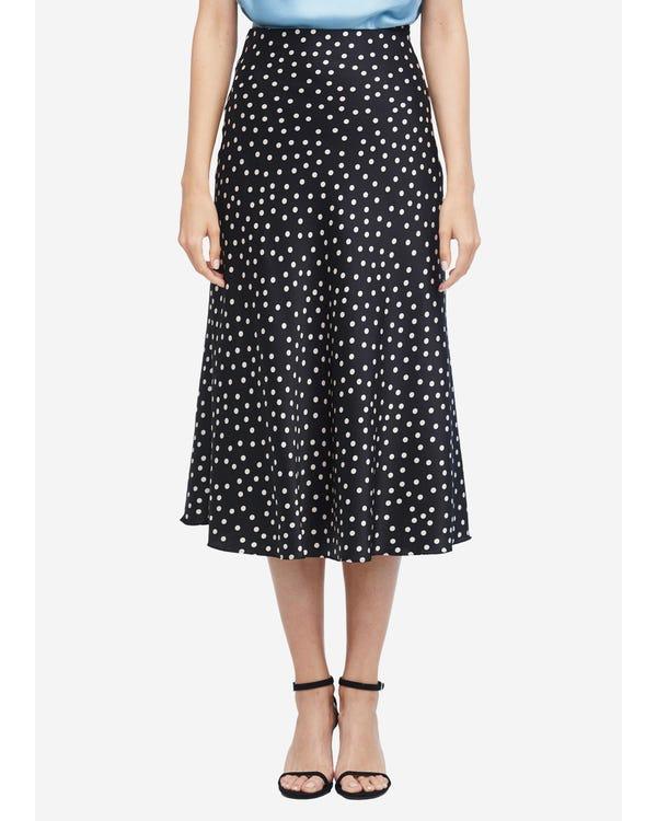 Versatile Polka Dot Pleated Silk Skirt Black-Polka-Dots L