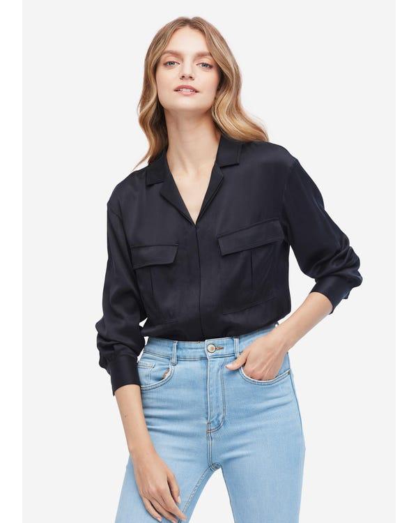 Exquisite V Neck Long Sleeve Silk Shirt