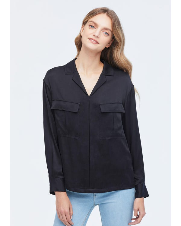 Exquisite V Neck Long Sleeve Silk Shirt-hover