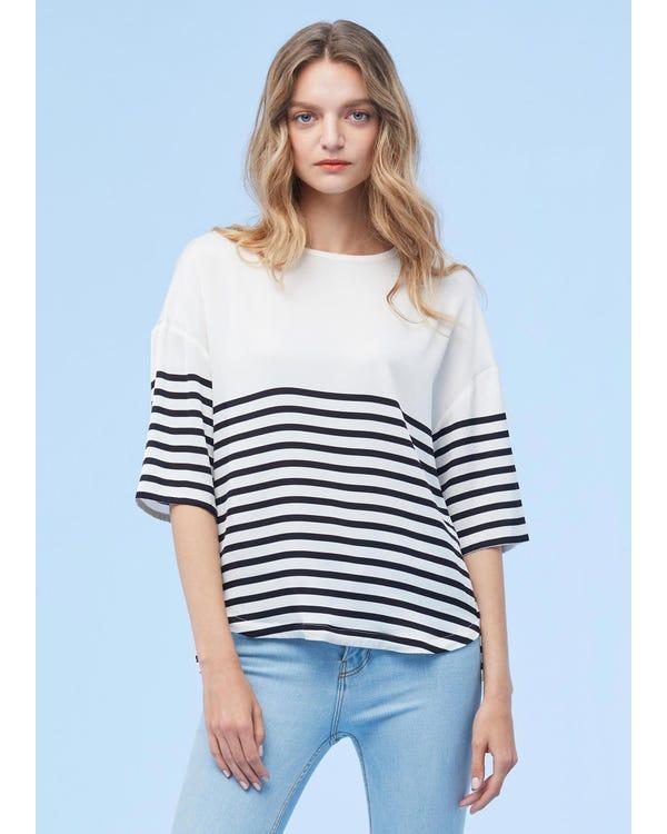 Double Color Block Strip Silk T-shirt
