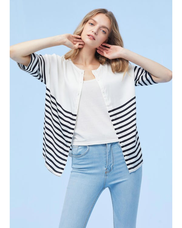 Double Color Block Strip Silk T-shirt-hover