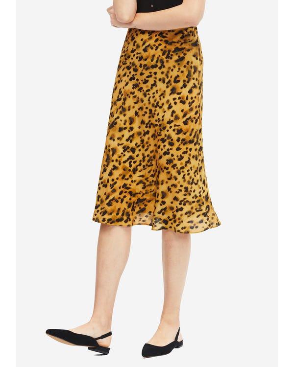 Leopard Print Elastic Waist Silk Midi Skirt Leopard-in-Yellow L