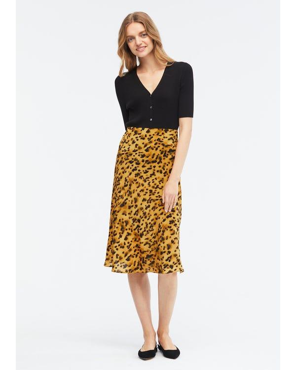 Leopard Print Elastic Waist Silk Midi Skirt