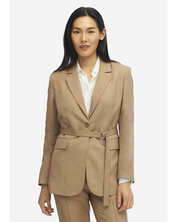 Women Silk Lining Casual Vintage Belted Blazer
