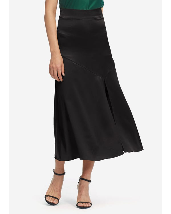 Women Sexy Slit Midi Skirt Black L