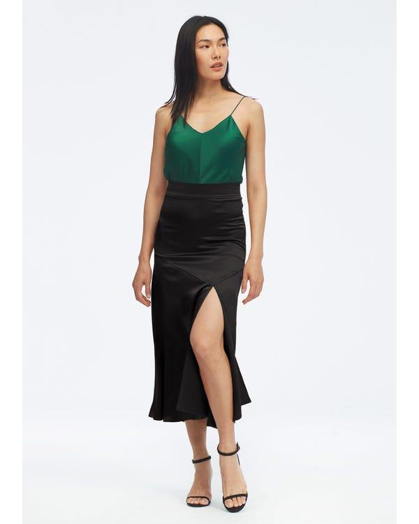 Women Sexy Slit Midi Skirt Black L-hover