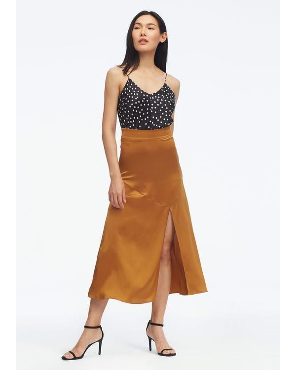 Falda de Seda Midi Sexy