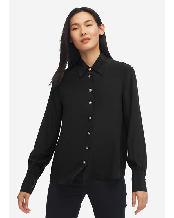 Women Classic Solid Color Silk Blouse Black XXL