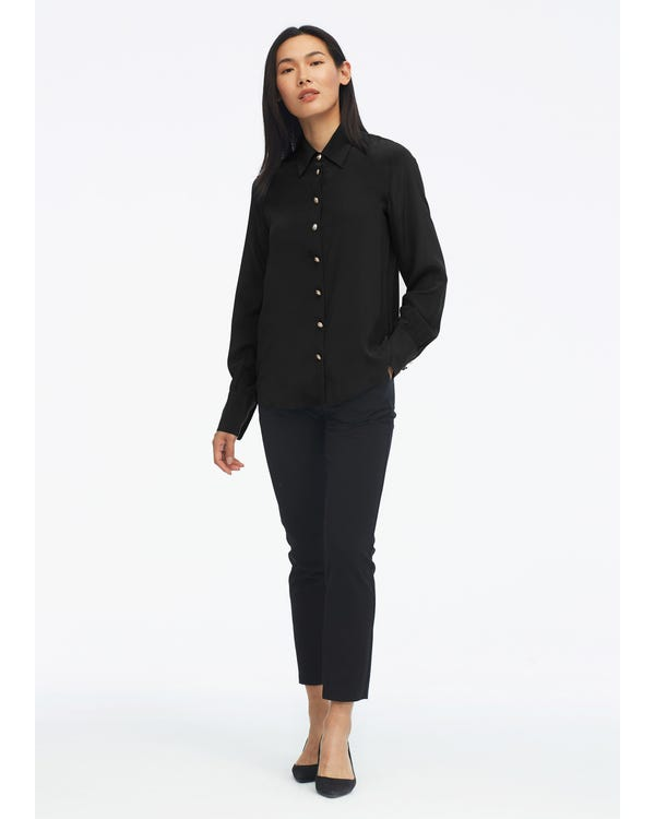 Women Classic Solid Color Silk Blouse Black XXL-hover