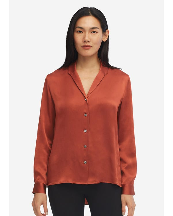 Long Sleeve Peak Lapel Hammered Silk Shirt