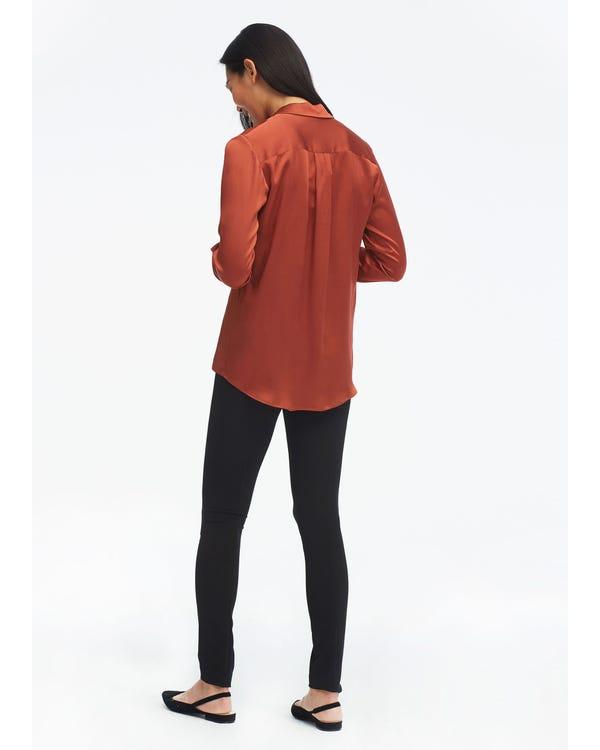Long Sleeve Peak Lapel Hammered Silk Shirt-hover