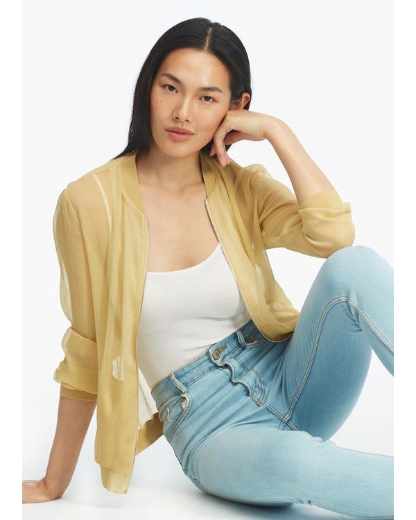 Lightweight Zipper Silk Jacket
