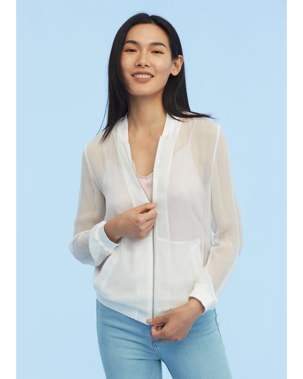 Lightweight Zipper Silk Jacket White JPXL