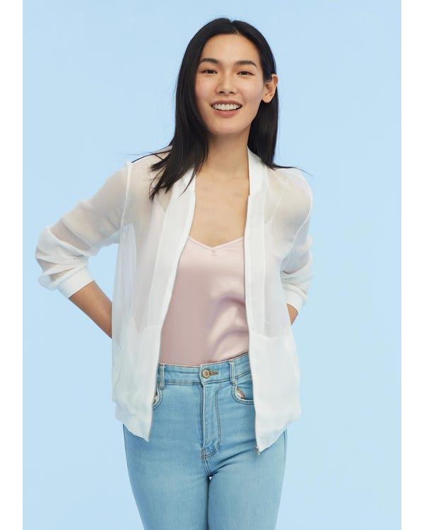 Lightweight Zipper Silk Jacket White JPXL-hover