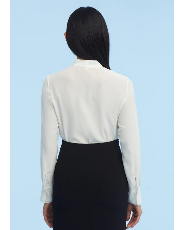 Tie Collar With Pearl Silk Shirt-hover