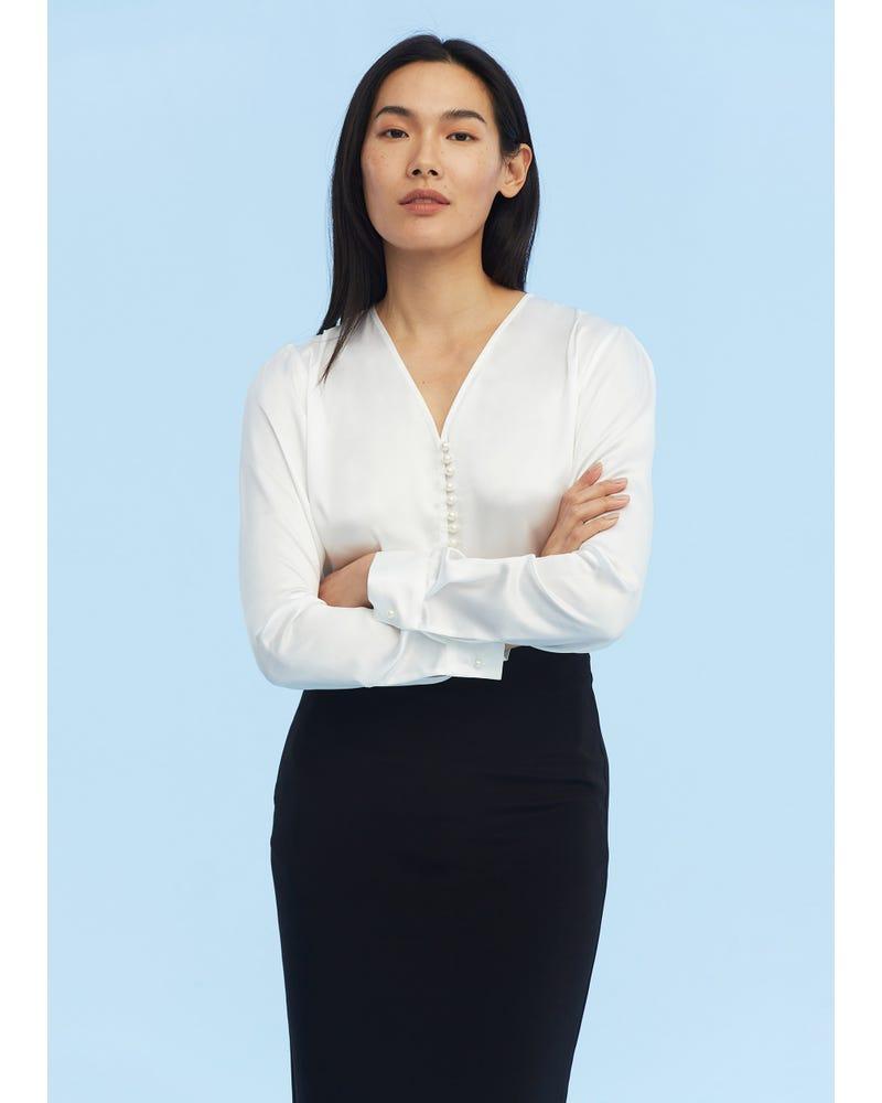 Partition Staple Charmeuse Silk Shirt