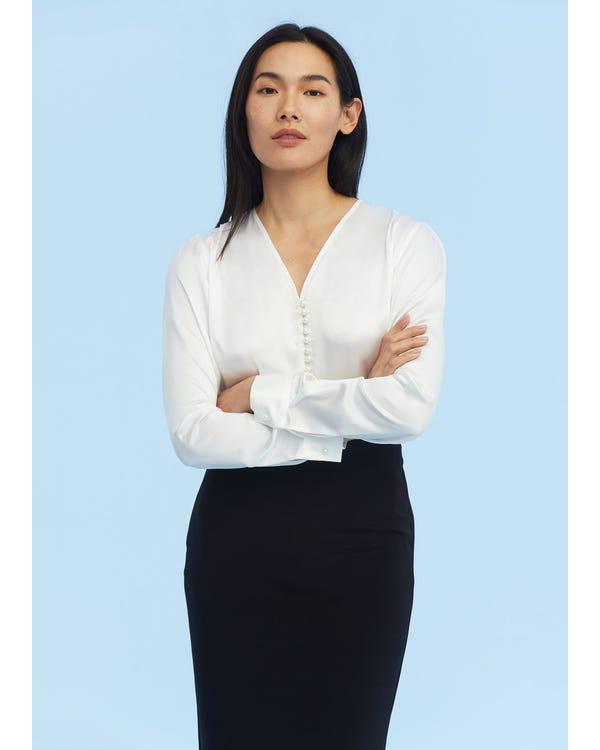 Partition Staple Charmeuse Silk Shirt White XXL