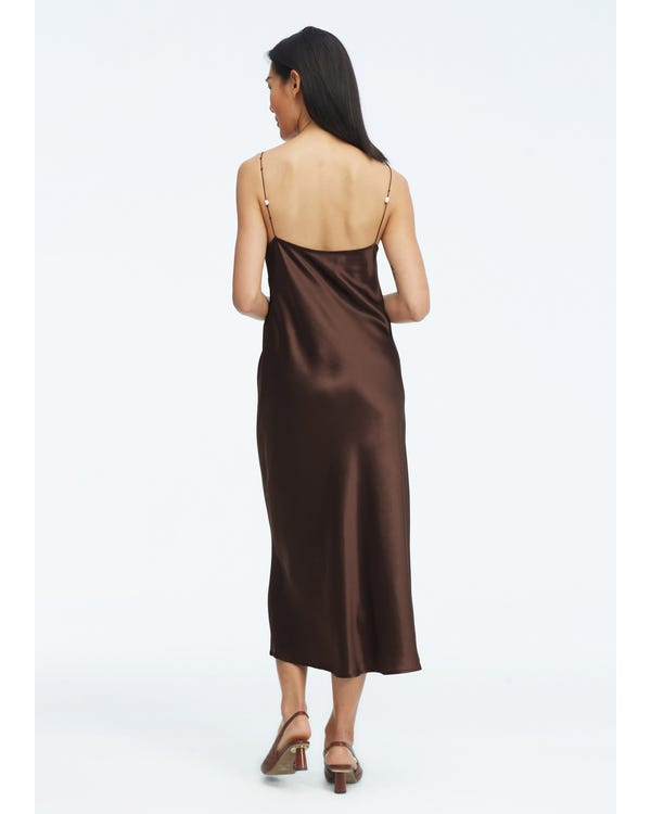 Elegant V Neck Silk Dress With Pearl