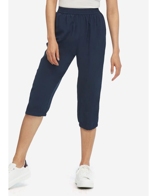 Elastic Waist Silk Cropped Pants