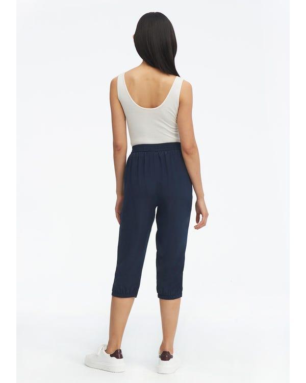 Elastic Waist Silk Cropped Pants