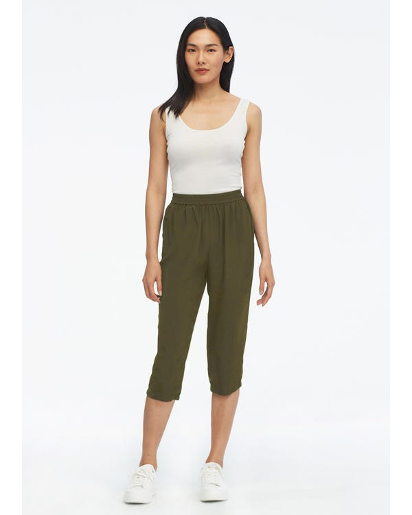Elastic Waist Silk Cropped Pants Olive-Green 31B