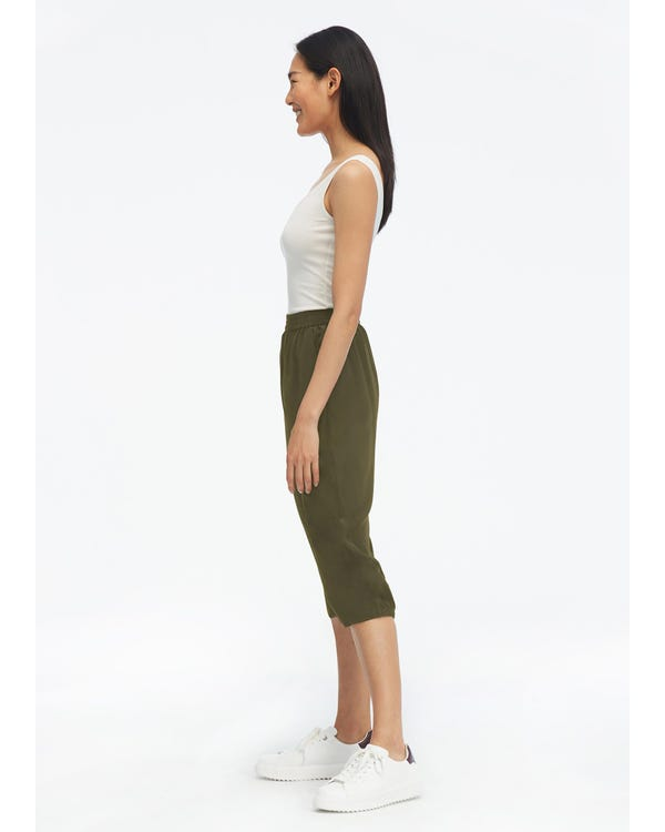 Elastic Waist Silk Cropped Pants Olive-Green 33B-hover