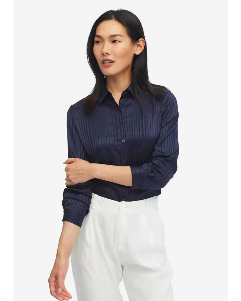 Pinstripe Easy Care Silk Shirt