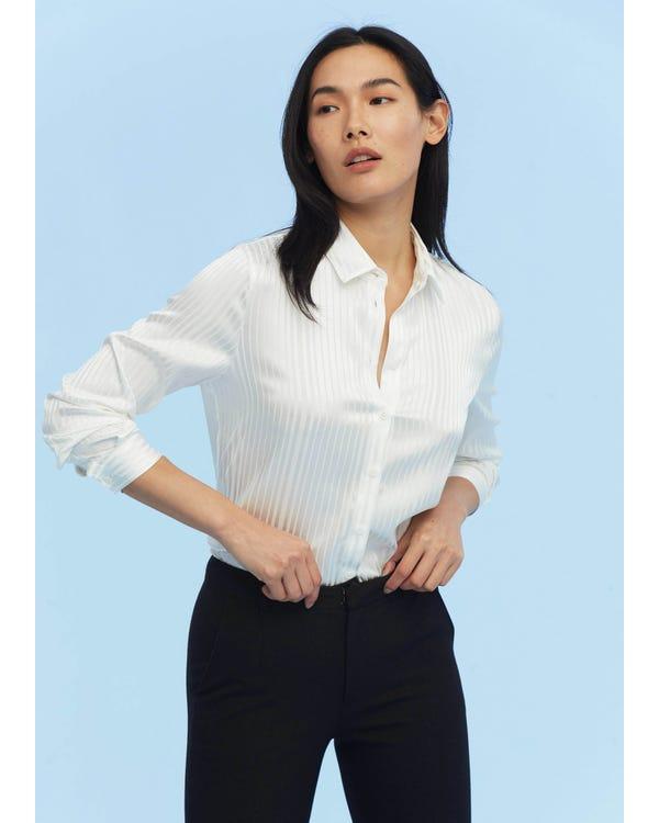 Pinstripe Easy Care Silk Shirt White XXL