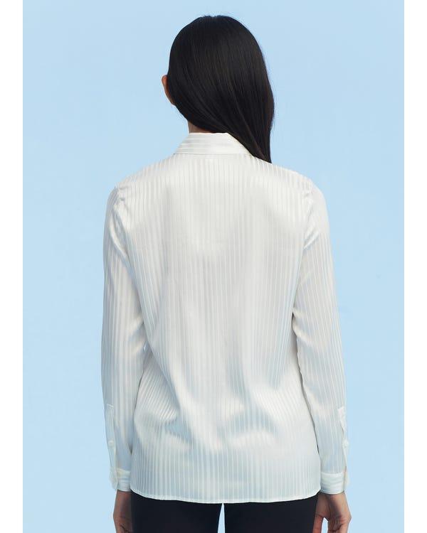 Pinstripe Easy Care Silk Shirt White XXL-hover