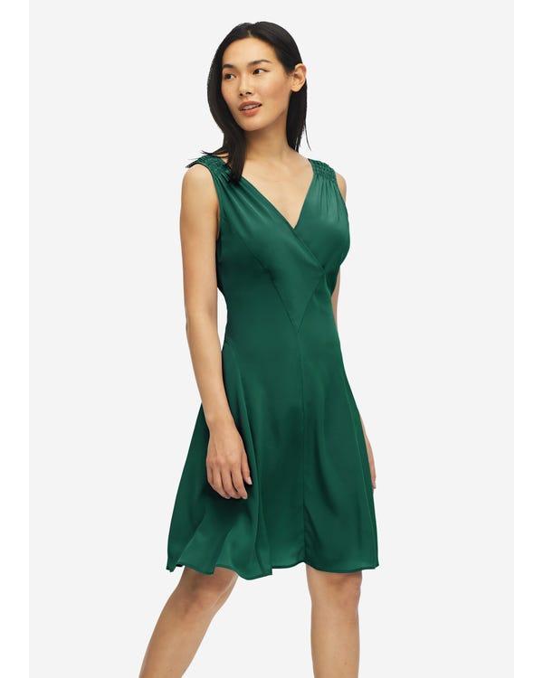 Unique Cutting Silk Dress With Smocking Shoulder Green Jade XXL