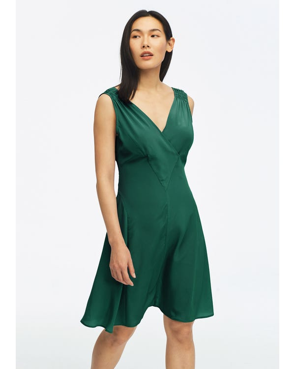 Unique Cutting Silk Dress With Smocking Shoulder Green Jade XXL-hover