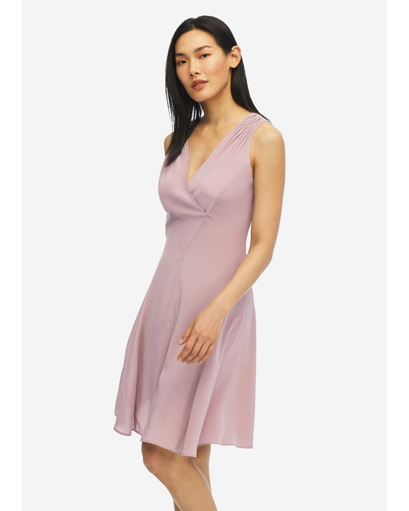 Unique Cutting Silk Dress With Smocking Shoulder