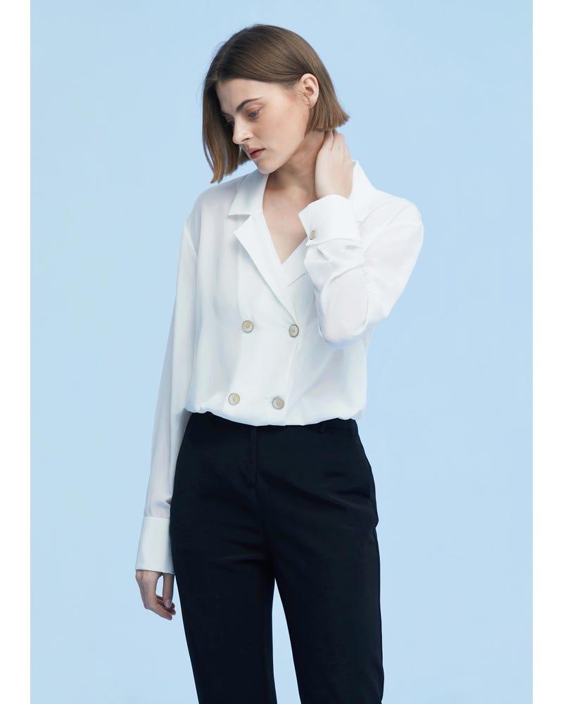Classic Lapel Collar Silk Shirt