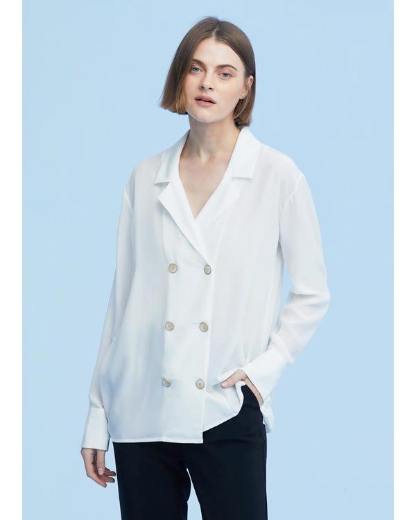 Classic Lapel Collar Silk Shirt-hover