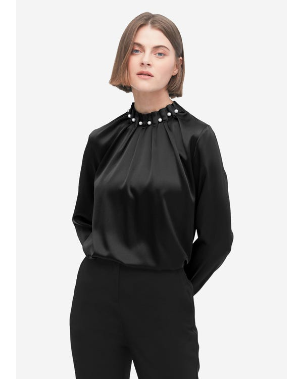 Elegant Pearl Turtleneck Silk Blouse