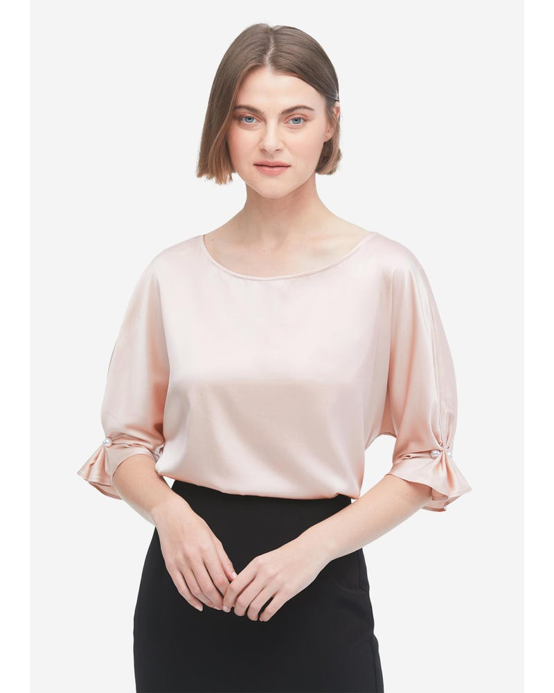 Silk Blouse With Smocked Cuffs Decoration