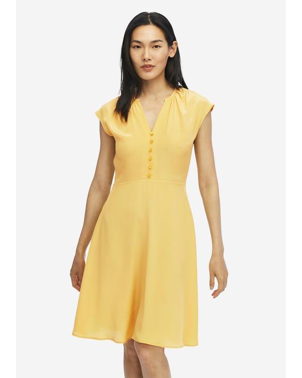 Sexy V Neck Silk Swing Dress