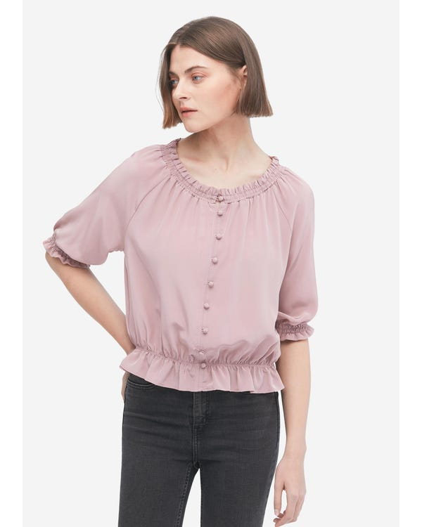 Sweet Silk Shirt with Half Sleeve