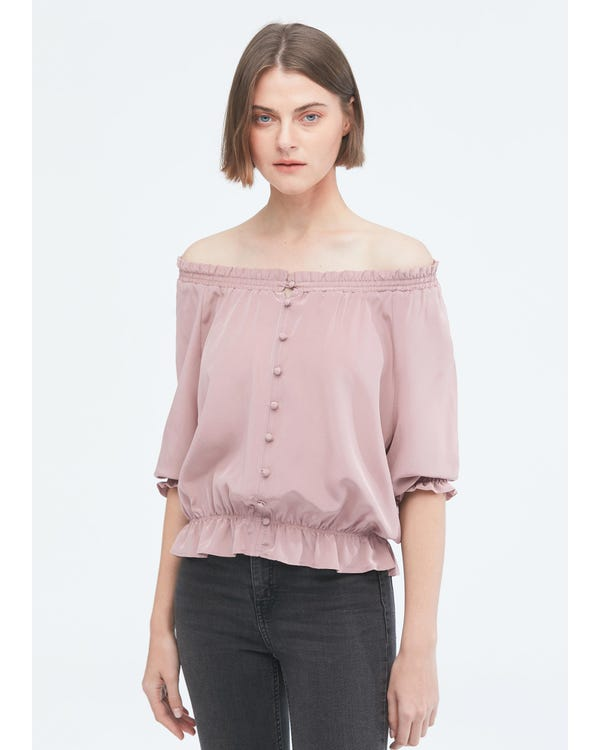 Sweet Silk Shirt with Half Sleeve-hover
