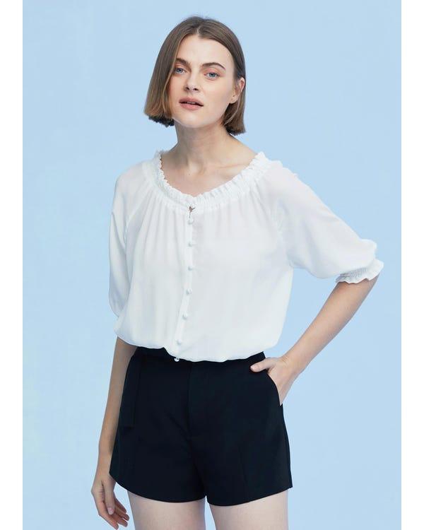 Sweet Silk Shirt with Half Sleeve White XXL
