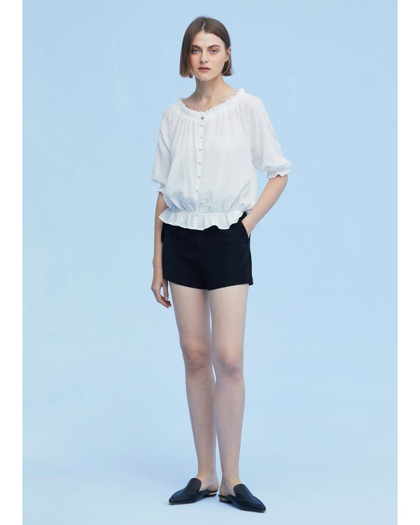 Sweet Silk Shirt with Half Sleeve White XXL-hover