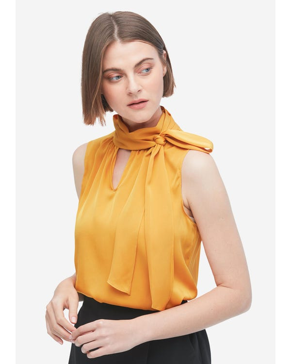 Feminine Sleeveless Silk Tie Neck Blouse